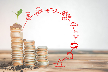 money stack step up growing growth saving money with business strategy symbols, ideas about saving money for future use - business success concept.