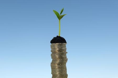money stack step up growing growth saving money, While seedlings are growing on pile of coins. ideas about saving money for future use - business success concept.
