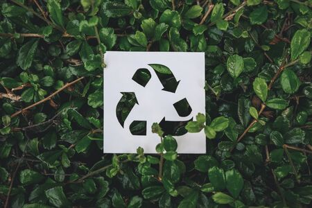 Recycle symbol created with paper cut on green leaves background, Concept of environmental conservation and protection.
