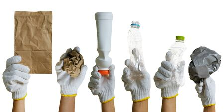 Hand of volunteer in White gloves holding recyclable waste isolated on white background,  recycle concept.