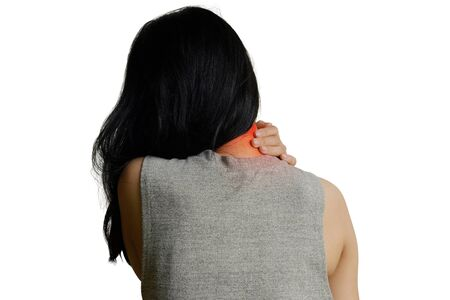 Woman with muscle injury having pain in her neck and shoulder, Health care and medical concept - isolated on white background