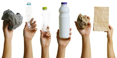 Hand of volunteer holding recyclable waste isolated on white background,  recycle concept. Banco de Imagens