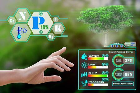 Agricoltura intelligente con IoT, concetto di agricoltura futuristica: l'agricoltore può monitorare tutte le situazioni, l'analisi dei costi, i profitti e le perdite con un clic e con un'esperienza immersiva sullo schermo olografico digitale - Immagine