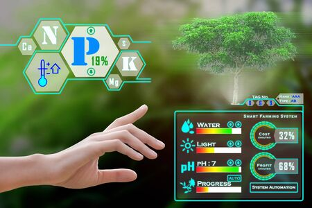 Smart farming with IoT, futuristic agriculture concept : Farmer can monitoring all situation, cost anylysis, profit and loss on one finger click and with immersive experience on digital holographic screen - Image 免版税图像 - 132576973