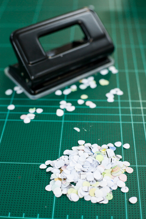 paper punch: Paper scrap from paper punch