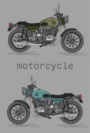 2 vector motorcycles on grey background