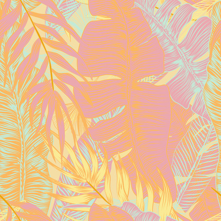 Wild seamless pattern vector with tropical plants in a trend. stylish, vector, plant, exotic illustration Illustration