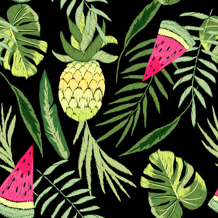 Beautiful, stylish, trendy, vector pattern of embroidered tropical elements: pineapples, leaves and toucans. Seamless vector floral pattern, summer background.