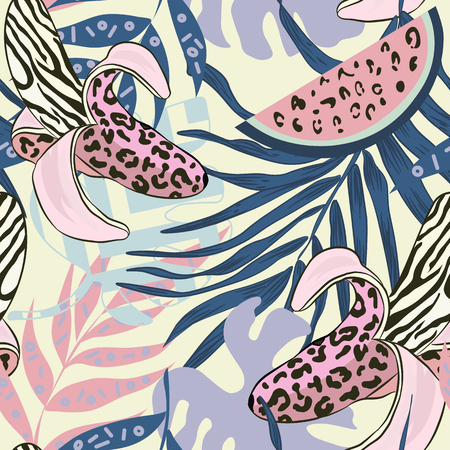 patch of light: seamless pattern with decorative bananas wild leopard coloring. Dangerous Bananas on a vector pattern with banana leaves and other tropical plants. cheeky striped background.