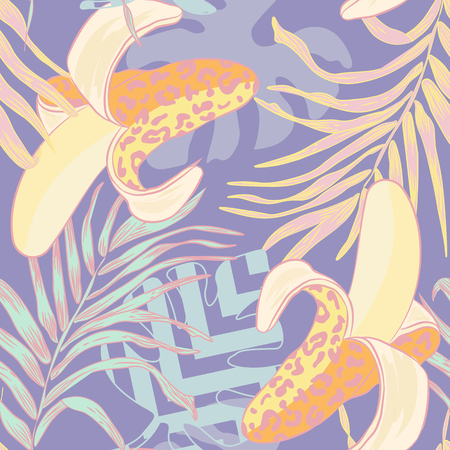 cheeky: seamless pattern with decorative bananas wild leopard coloring. Dangerous Bananas on a vector pattern with banana leaves and other tropical plants. cheeky striped background.