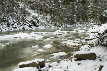 Carpathian mountains at winter, Ukraine Stock Photo