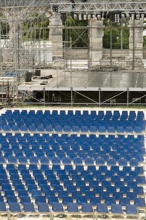 Concert stage in ancient Roman arena in Pula, Croatia. Front view.