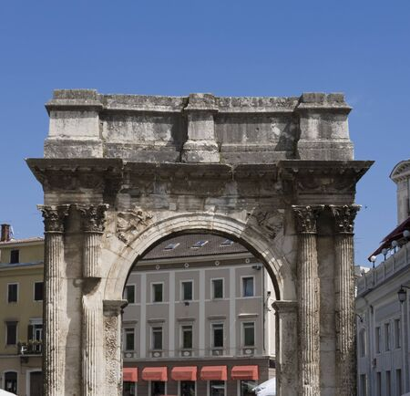 man made structure: Roman triumphal arch (Gate of Hercules) in Pula, Croatia.