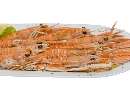 langouste: Big plate with cooked langouste. Close view.