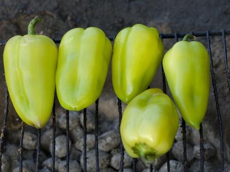 Green pepper BBQ Stock Photo