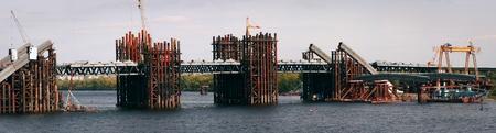 Building a bridge over the Dnipro river in Kiev, Ukraine. Stock Photo - 10802622