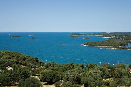 mediterranean sea: View on small islands from Vrsar city bell tower Stock Photo