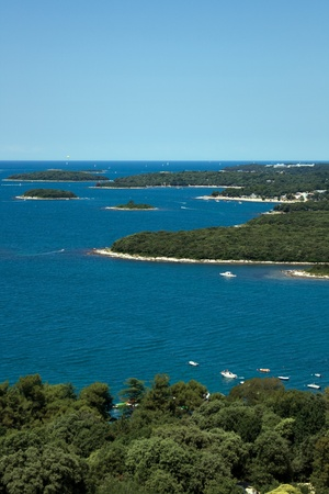 View on small islands from Vrsar city bell tower photo