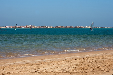 Windsurfing along sandy beach of Red Sea in Egypt