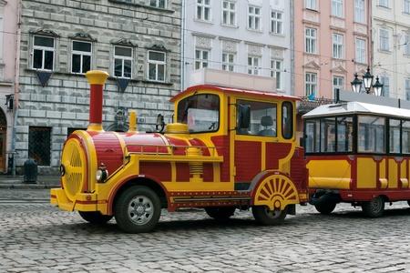 Sightseeing tourist train car in Lviv, Ukraine