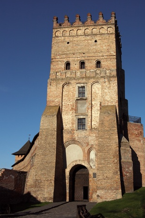Central tower of the old Lubert castle in Lutsk, Ukraine.
