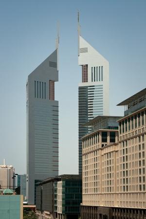 The Emirates Towers against the blue sky, Dubai.