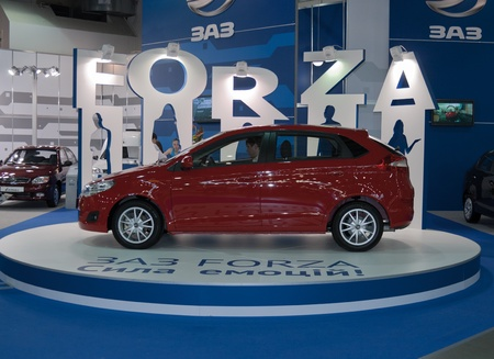 Kiev, Ukraine - May 28, 2011: Car model ZAZ Forza is displayed on booth at 19th International SIA'2011 Motor Show.  Stock Photo - 10808136