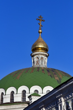 Cupola of Refectory Church in Pechersk Lavra cave monastery in Kiev, Ukraine. UNESCO world heritage. photo