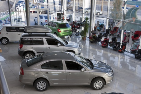 Kiev, Ukraine - November 17, 2011: Trade auto salon Praha-Auto with set of new Skoda models Octavia A5, Yeti and Fabia in Kiev, Ukraine.