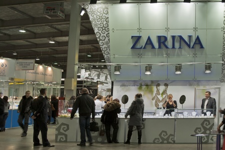 KIEV, UKRAINE - NOVEMBER 17: Visitors visit Jeweller House ZARINA booth during Autumn Jeweller Expo exhibition at KyivExpoPlaza Exhibition Center on November 17, 2011 in Kiev, Ukraine. The Jewellery House ZARINA is one of the most famous and bright brands Stock Photo - 11691584
