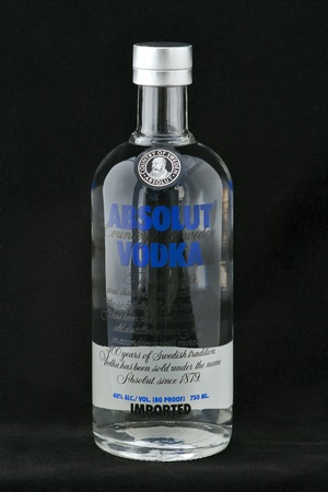 Kiev, Ukraine - June 05, 2011: Absolut Vodka bottle against black background in Kiev, Ukraine.