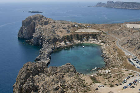 St. Pauls bay in Lindos (Rhodes island, Greece) photo