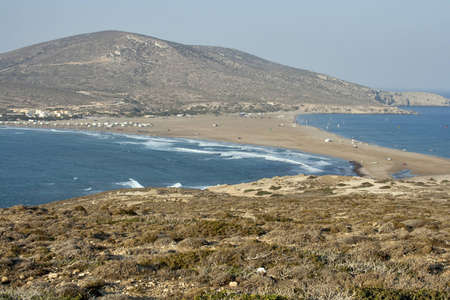 isthmus: Sea landscape with land neck and surfers  Western coast of Rhodes island Stock Photo