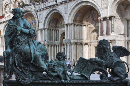 Venice, Italy - October 22, 2008: Sculpture of National Library of St Mark