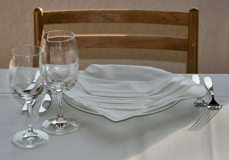 View of the served table in restaurant photo