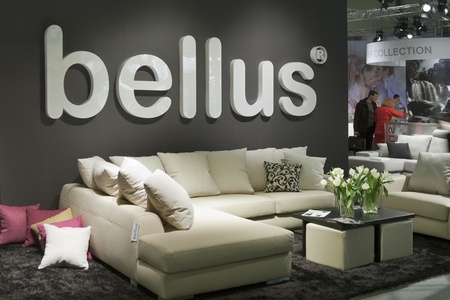 KIEV, UKRAINE - MARCH 14: Visitors visit Bellus booth during Kyiv International Furniture Forum (KIFF) in KYIVEXPOPLAZA Exhibition Center on March 14, 2012 in Kiev, Ukraine. Bellus Furniture is Estonias biggest manufacturer of upholstered furniture.