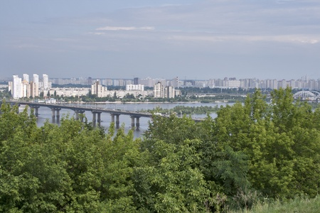 dniper: Kiev cityscape with Paton bridge over Dnipro river Stock Photo
