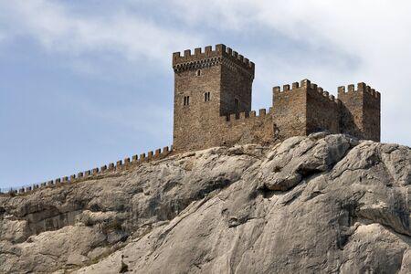 Walls of Genoese fortress in Sudak, Crimea, Ukraine