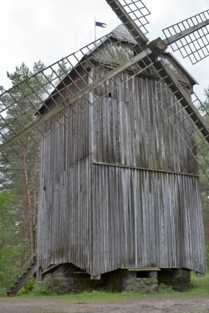 Old wooden windmill. Latvia, Riga. Stock Photo