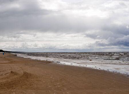 jurmala: Jurmala beach on the Baltic coast at rainy day. Riga, Latvia