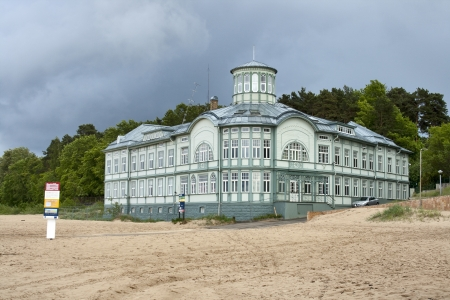 JURMALA, LATVIA - JUNE 2: Former bath house of E.Racene built during 1911-1916 on June 2, 2012 in Jurmala, Latvia. It was possible to take a bath with the warmed-up sea water.