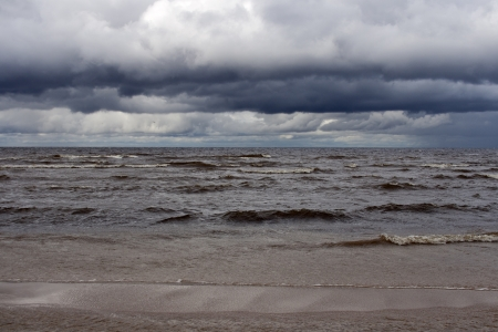 Storm at Riga Gulf. Jurmala, Latvia. photo