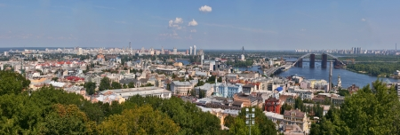 Kiev cityscape panorama. View over Podil district and Dnieper river. Ukraine. Stock Photo - 15528998