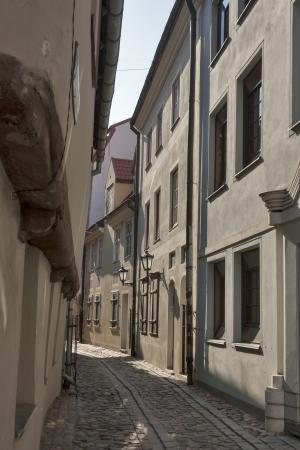 Narrow street in the old Riga city, Latvia. Stock Photo