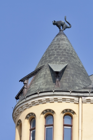 Rooftop with a cat figure in the Old Town of Riga (Latvia)  版權商用圖片