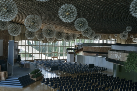 Yalta, Ukraine - September 13, 2012: Empty Congress Hall of hotel Yalta Intourist Complex in Yalta, Ukraine. Yalta Intourist Hotel Complex was built in 1977, the design work was performed by A.T. Polyansky.
