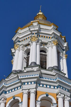 Top of Great Bell Tower of Pechersk Lavra monastery in Kiev, Ukraine.  photo