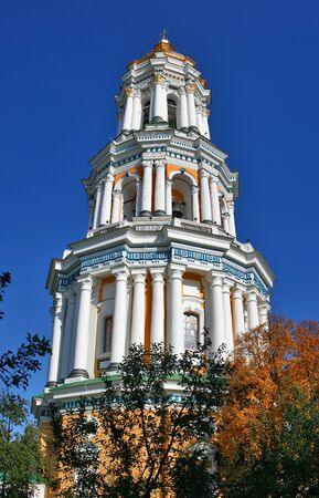 Vertical panorama of Great Bell Tower of Pechersk Lavra monastery in Kiev, Ukraine.  photo
