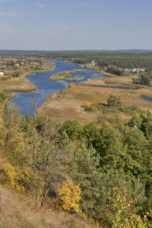River Ros view from Mar'in cliff in fall. Central Ukraine. photo