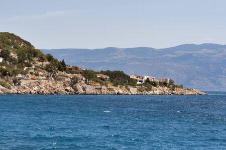 residential idyll: Baska coastline, island Krk,  Croatia Stock Photo